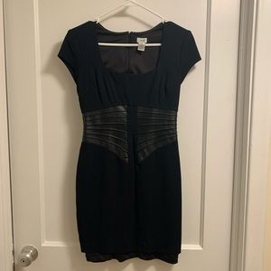 Cache Black Dress with Leather Piping